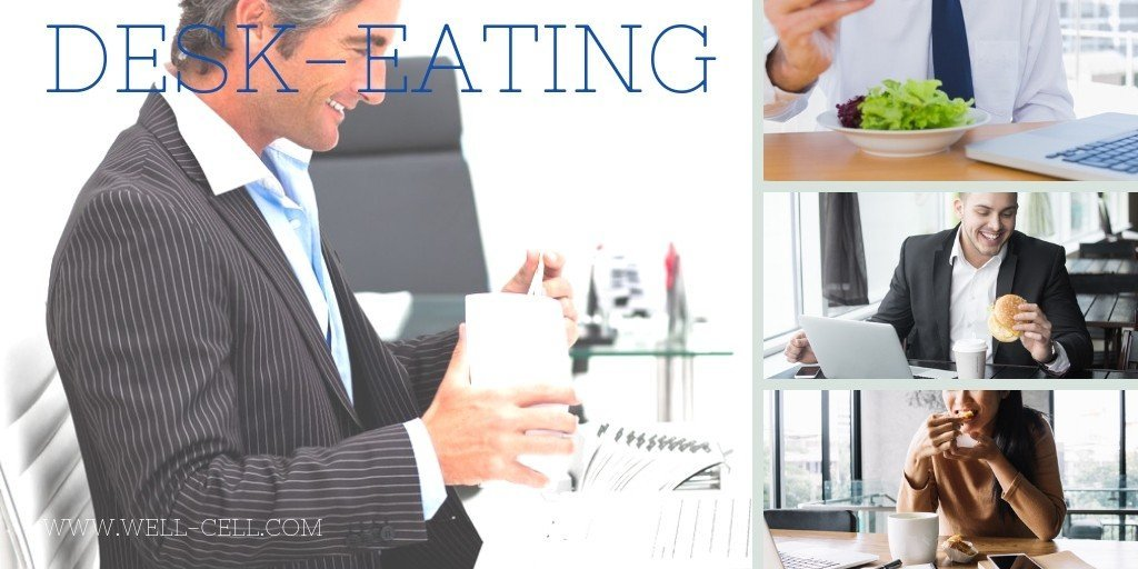 business people eating at their desk or office
