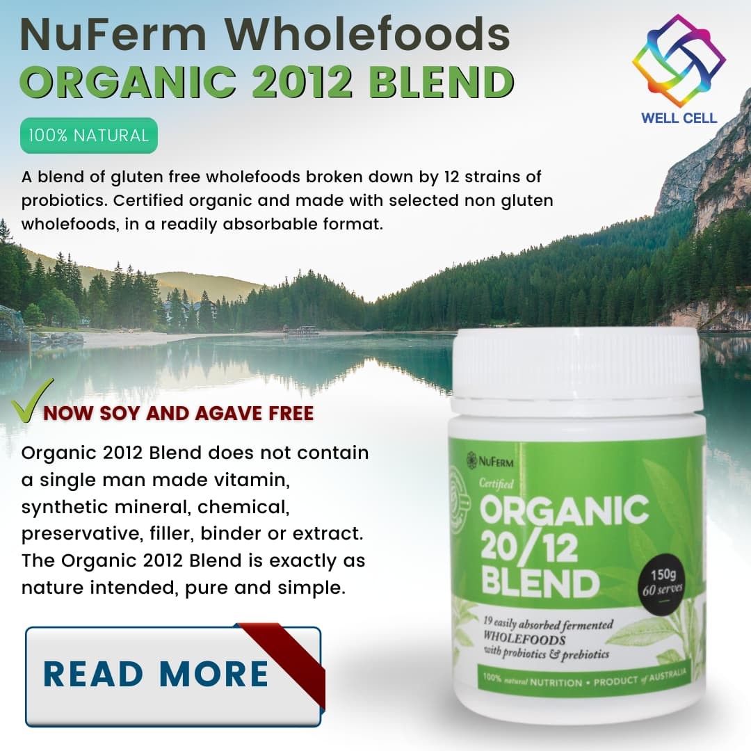 A blend of gluten free wholefoods broken down by 12 strains of probiotics. Certified organic and made with selected non gluten wholefoods, in a readily absorbable format.